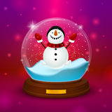 Snowman inside ball with stand. On pink background Stock Images