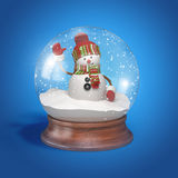 Snowman inside glass ball Royalty Free Stock Images