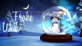 Snowman inside snow globe with magic german christmas greeting stock video footage