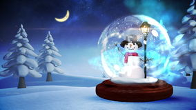 Snowman inside snow globe with magic lights