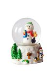Snowman inside snowglobe. Over white stock photos