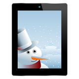 Snowman inside tablet Stock Photos