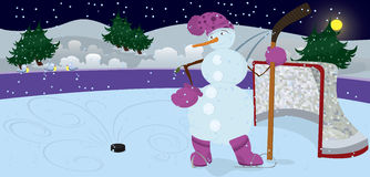 Snowman Is Playing Ice-hockey Banner Royalty Free Stock Image