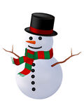 Snowman isolate. Smiling snowman with a red scarf and hat. isolated on a white background Stock Image