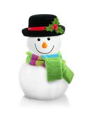 Snowman isolated. Snowman in black hat isolated on white background Royalty Free Stock Photo