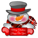 Snowman isolated closeup with a greeting card. Vector vector illustration