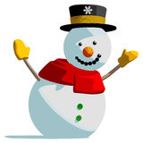 Snowman. Isolated vector illustration on white background Royalty Free Stock Images