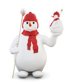 Snowman isolated on white background. 3d. Royalty Free Stock Photo