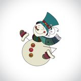Snowman isolated on white background. Snowman with Royalty Free Stock Images