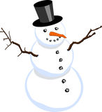 Snowman isolated on white background (vector). Snowman with stovepipe hat isolated on white background (vector version available vector illustration