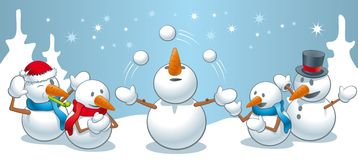 Snowman juggles Royalty Free Stock Image