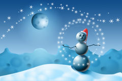 The Snowman juggles with snowflakes. Stock Images