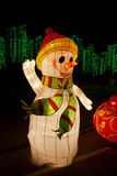 Snowman-Jul garnering Arkivfoto