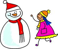 Snowman kid. Happy little girl talking to a snowman - toddler art series Royalty Free Stock Photos