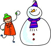 Snowman kid. Little boy adding a bit more snow to his happy snowman - toddler art series Royalty Free Stock Photography