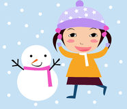 Snowman kid. Happy little girl talking to a snowman - toddler art series Royalty Free Stock Photography