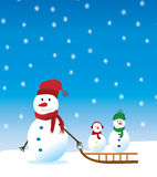 Snowman with kids. Vector snowman and kids on the sledge Royalty Free Stock Photography