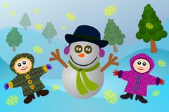 Snowman with kids Royalty Free Stock Image