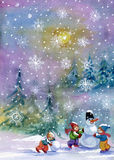 Snowman and kids. Lovely snowman and kids in the winter forest painted in watercolor Stock Photography