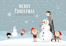 Snowman and kids C Royalty Free Stock Photos