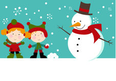 Snowman with Kids in Snow Stock Photography