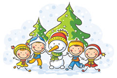 Snowman and kids on a winter day Stock Image