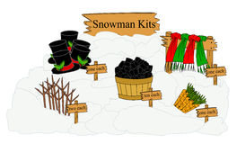 Snowman Kits. Parts needed to build and decorate a snowman displayed as a kit Stock Photo