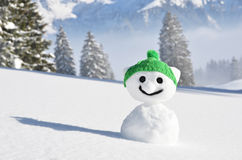 Snowman in the knitted cap Royalty Free Stock Photos