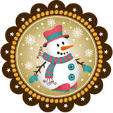 Snowman label Royalty Free Stock Image
