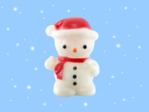 Snowman Lamp isolated on blue background Stock Photo
