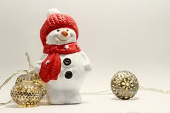 Snowman and lamps Stock Photos