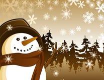Snowman Landscape Stock Image