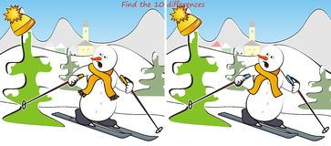 Snowman an landscape-find 10 differences. Find ten differences in the figures - the theme snowman on skis Stock Photography