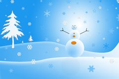 Snowman Landscape with Trees Royalty Free Stock Photos