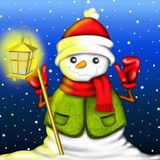 Snowman with lantern Stock Photos