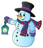 Snowman with lantern theme image 1 Stock Images