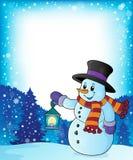 Snowman with lantern theme image 4 Royalty Free Stock Photos
