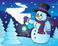 Snowman with lantern theme image 3 Stock Images