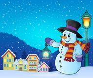 Snowman with lantern theme image 5 Royalty Free Stock Images
