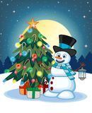 Snowman With A Lantern And Wearing A Hat And A Blue Scarf With Christmas Tree And Full Moon At Night Background For Your Design Ve Royalty Free Stock Photos