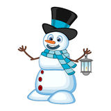 Snowman with a lantern and wearing a hat and a blue scarf for your design Vector Illustration Royalty Free Stock Photography
