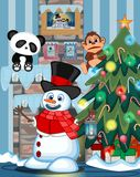 Snowman with a lantern and wearing a hat, red sweater and a red scarf with christmas tree and fire place Illustration Royalty Free Stock Photography