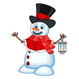 Snowman with a lantern and wearing a hat, red sweater and a red scarf for your design Vector Illustration Stock Image