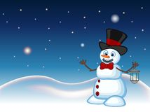Snowman with a lantern and wearing a hat with star, sky and snow hill background for your design Vector Illustration Royalty Free Stock Image