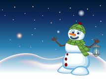 Snowman with a lantern and wearing a head cover and a green scarf with star, sky and snow hill background for your design Vector I Royalty Free Stock Image