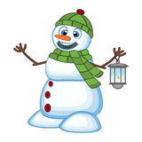 Snowman with a lantern and wearing a head cover and a green scarf for your design Vector Illustration Stock Image