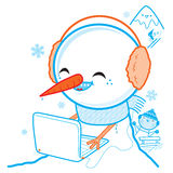 Snowman with laptop Stock Photos