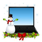 Snowman Laptop Computer Stock Photo
