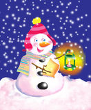 Snowman with latern Stock Images