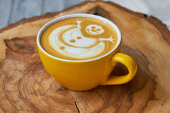 Snowman latte art. Royalty Free Stock Images